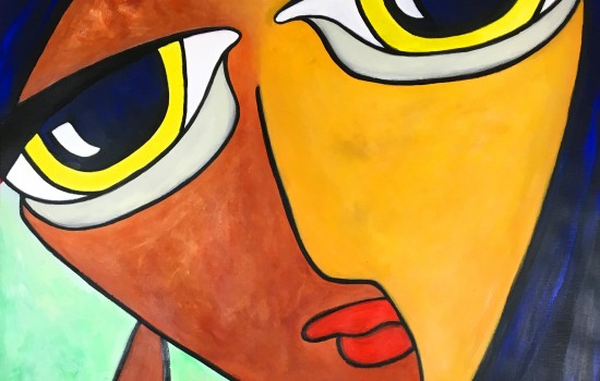 Abstract artwork of a face