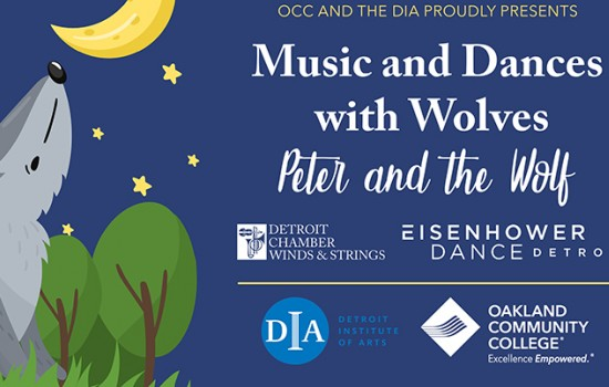 An illustration of a wolf in a forest under a crescent moon with logos from partner organizations