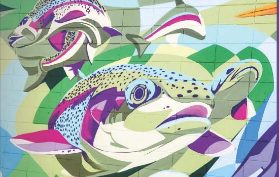 Downtown Rochester mural featuring floral and fish motifs