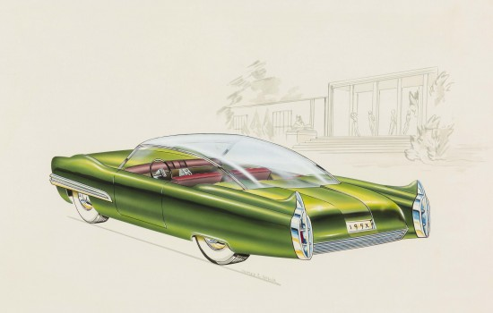 """""""Lincoln XL-500 Concept Car,"""" 1952, Charles E. Balogh, American; watercolor, gouache, airbrush, ink, graphite on illustration board. Collection of Robert L. Edwards and Julie Hyde-Edwards."""
