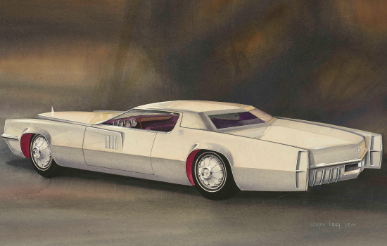 """""""Rendering of Proposed 1967 Cadillac Eldorado Design,"""" 1964, Wayne Kady, American; watercolor, gouache, and ink on paper. From the Collections of The Henry Ford, Dearborn, Michigan."""