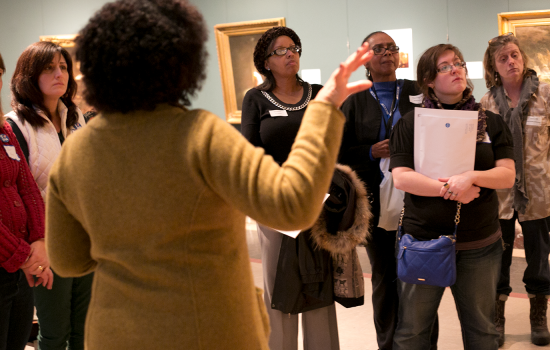 Educators on a professional development class in the galleries