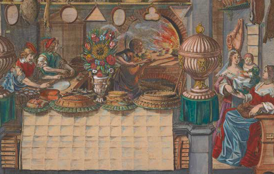 """The Pastry Shop,"" 1600s, Abraham Bosse, hand-colored etching, engraving, gouache and gold. Getty Research Institute, Los Angeles"