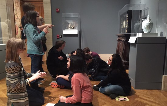 Teachers workshopping in the galleries
