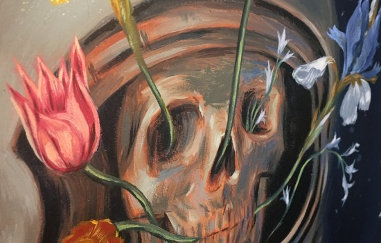 Artwork from artist Don Kilpatrick III featuring a skull in a helmet with flowers emerging from the skull.