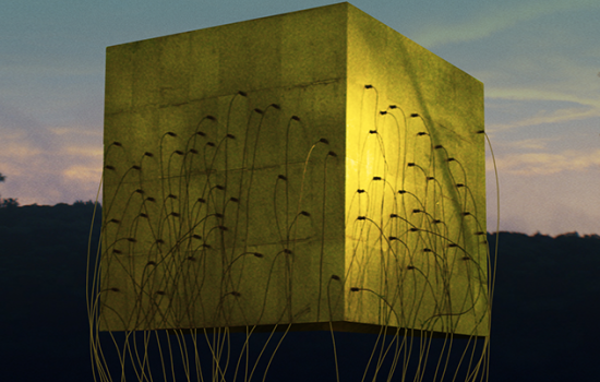 A large yellow cube with many wires hanging off of it and seeping out past the frame. The area around the cube is possibly a forest and the sky is at a colorful dusk.