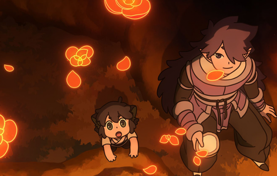 An animated still of a small child and an adult as they stare up into the sky and glowing, red flowers fall down around them.