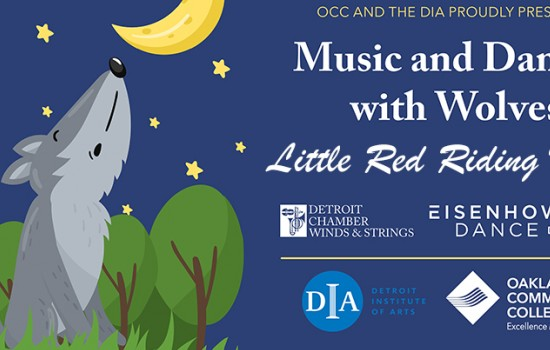 Image with text that reads: Music and Dances with Wolves: Little Red Riding Hood