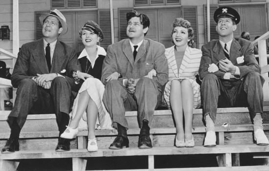 The cast of Palm Beach Story in black and white