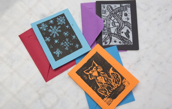 An example of printmaking notecards