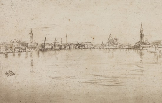 """""""Salute Dawn,"""" 1879, James Abbott McNeill Whistler, etching with drypoint. Museum purchase"""