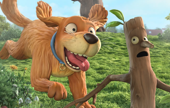 An animated stickman is chased by an animated dog through a flowery field.
