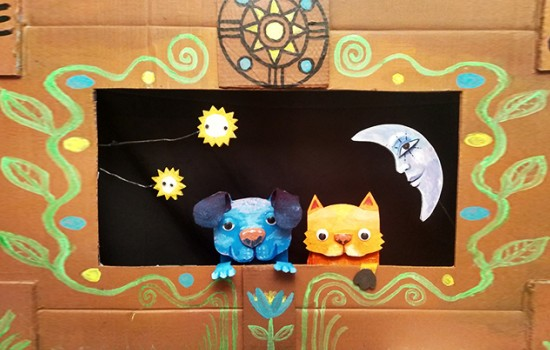 Kitty's Corner, with a dog and cat made out of paper