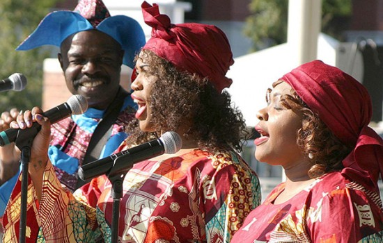 Three singers during a performance