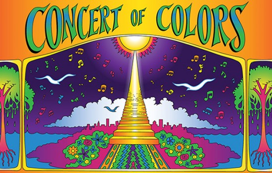 Colorful Concert of Colors featuring a stairway to the sun, flowers, birds, trees, and music notes