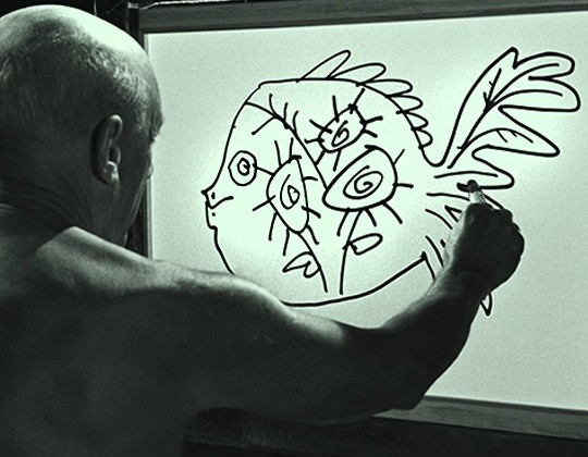 A still from the film The Mystery of Picasso
