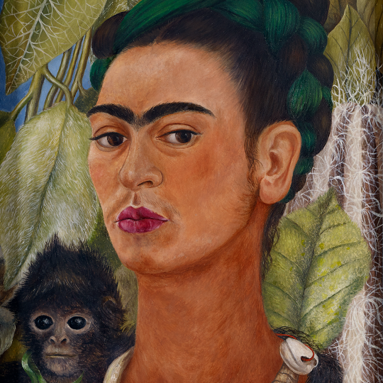 """""""Self-Portrait with Monkey,"""" 1938, Frida Kahlo, Mexican; oil on masonite. Collection Albright-Knox Art Gallery, Buffalo, New York; Bequest of A. Conger Goodyear, 1966 (1966:9.10)."""