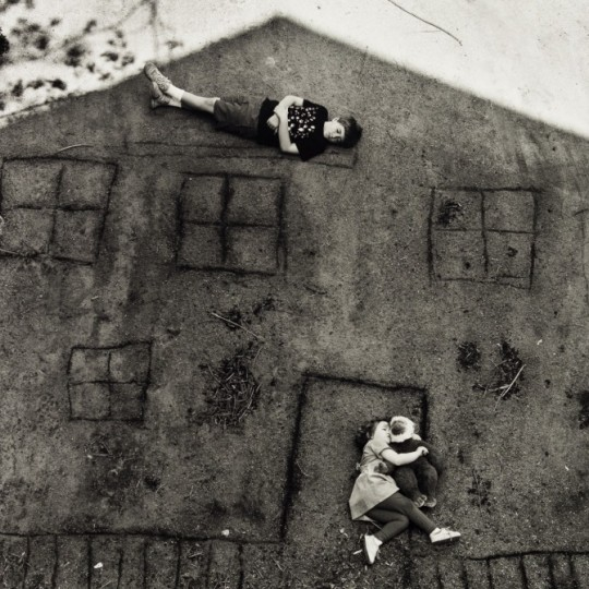 Abelardo Morell, Laura and Brady in the Shadow of Our House, 1994, gelatin silver print, Museum Purchase, Albert and Peggy de Salle Charitable Trust