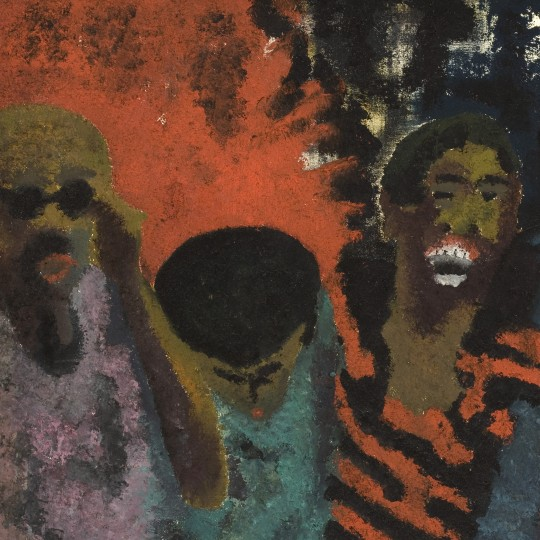 """The Fire Next Time,"" 1968, Vincent Smith, oil paint and sand on canvas. Detroit Institute of Arts"