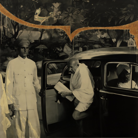 Atul Dodiya (Indian, born 1959), Mahatma Gandhi getting out of a car, Bombay, 1944, 2016, Oil on canvas. DIA no. 2019.43, Museum Purchase, Modern and Contemporary Deaccession Fund