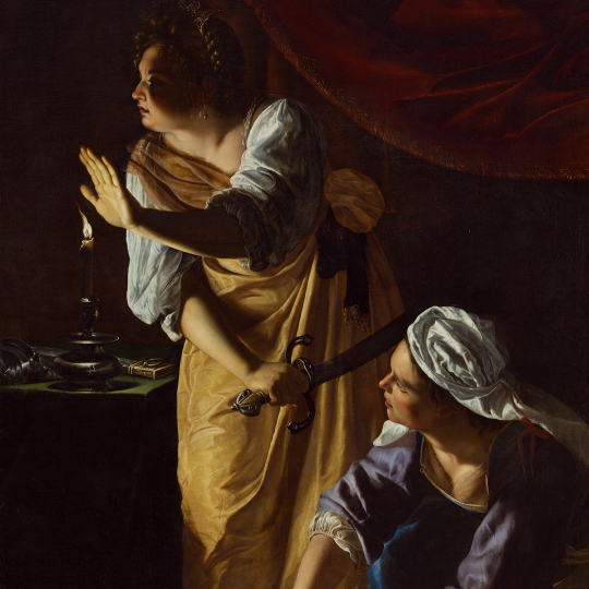 """Judith and Her Maidservant with the Head of Holofernes,"" 1523-1525, Artemisia Gentileschi, Italian; oil on canvas. Detroit Institute of Arts."