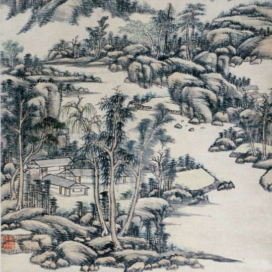 """Mountain and River Landscape,"" 1711, Wang Yuanqi, Chinese; Ink and watercolor on paper."