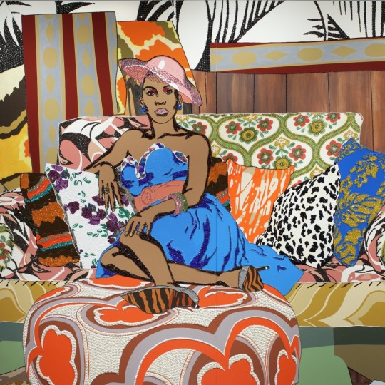 Colorful, complex painting of woman sitting on a sofa