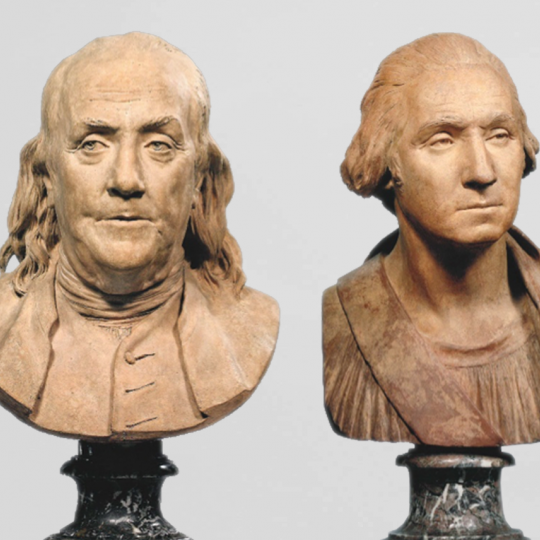 Terra cotta busts of Benjamin Franklin and George Washington, made in the 18th century by Jean-Antoine Houdon