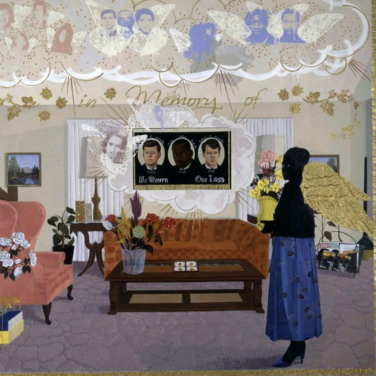 """Souvenir II"", 1997, Kerry James Marshall, American, Acrylic, collage, and glitter on unstretched canvas banner. Addison Gallery of American Art, Phillips Academy"