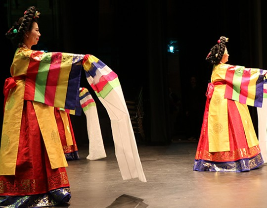 A Korean cultural performance in traditional dress