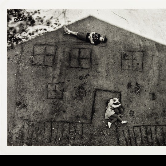 """""""Laura and Brady in the Shadow of Our House,"""" 1994, Abelardo Morell, gelatin silver print. Courtesy of Abelardo Morell and Bonni Benrubi Gallery, New York. Detroit Institute of Arts"""