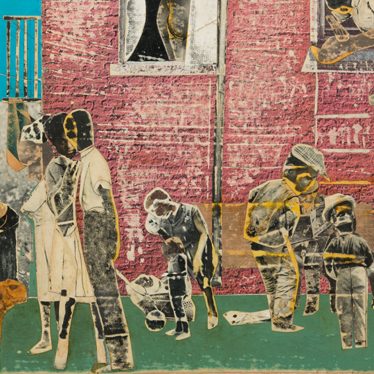Stamping Ground, 1971, Romare Bearden, American; paper collage with graphite on board.
