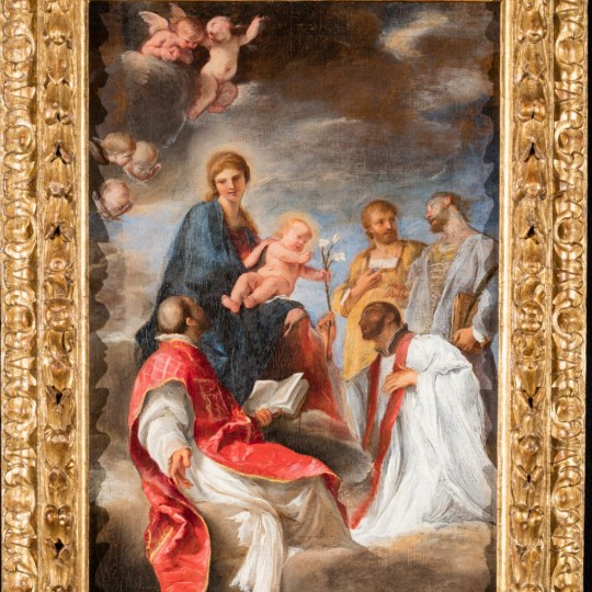 """""""The Madonna and Child with Saints Ignatius of Loyola, Francis Xavier, Cosmas and Damian"""", ca. 1629, oil on canvas; Andrea Sacchi, Italian, 1599–1661. Detroit Institute of Arts. Gift of the European Paintings Council. (2017.10)"""