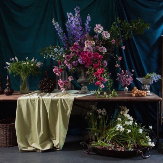 A large array of floral arrangements done by Lewis Miller