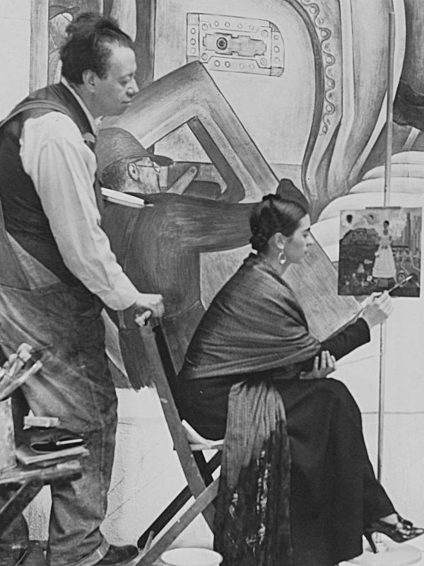 Diego Rivera and Friday Kahlo in Rivera Court