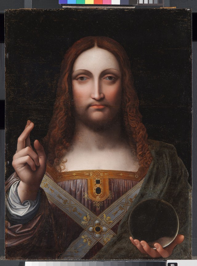 """Salvator Mundi,"" mid 1500s, Attributed to Giampetrino, Italian; paint on wood panel. Detroit Institute of Arts."