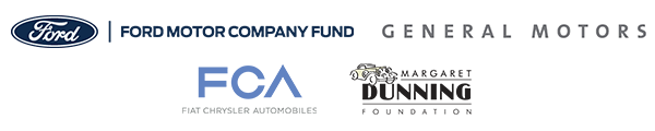 Logos for Detroit Style Sponsors: Ford Motor Company, General Motors, Fiat Chrysler Automotive, and Margaret Dunning Foundation