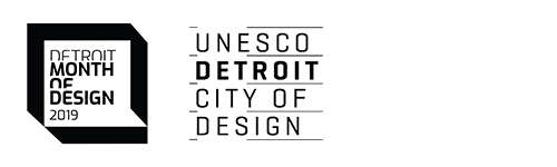 Flat black logos for Detroit Month of Design 2019 and UNESCO Detroit City of Design