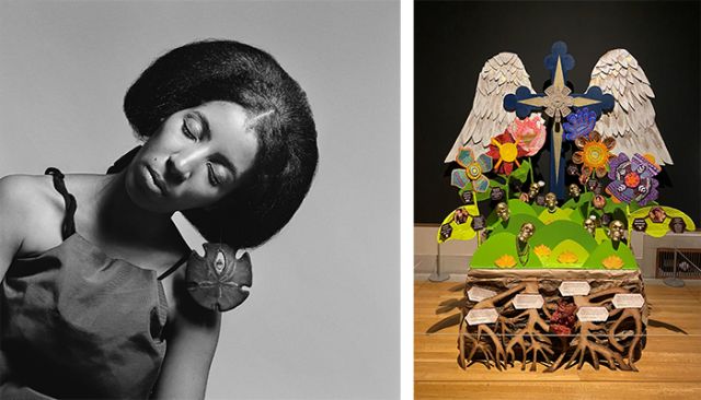 Image of a young Black woman from the Black Is Beautiful exhibition and an Ofrenda featured in the 2021 Ofrendas exhibition