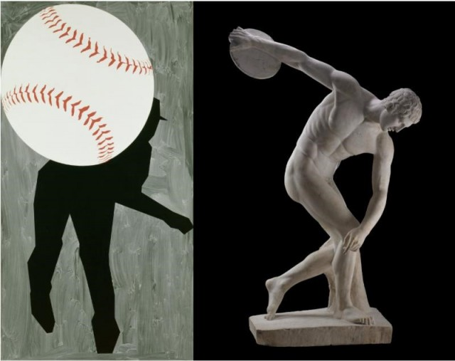 Left: Robert Moskowitz (American, born 1935), Hard Ball III, 1993, oil on canvas. Right: Myron (Greek), The Discobolus, 460-450 B.C., marble.