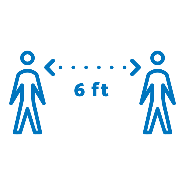 Flat lay blue icon of two people standing 6 feet apart