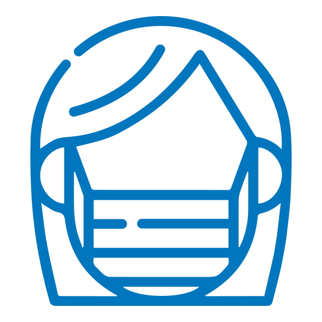 Flat lay blue icon of a person wearing a face mask