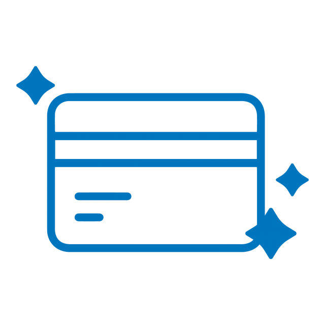 Flat lay blue icon of a debit or credit card