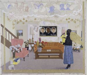 """""""Souvenir II,"""" 1997, Kerry James Marshall, American; acrylic, collage and glitter on unstretched canvas. © Kerry James Marshall. Courtesy of the artist and Jack Shainman Gallery, New York."""