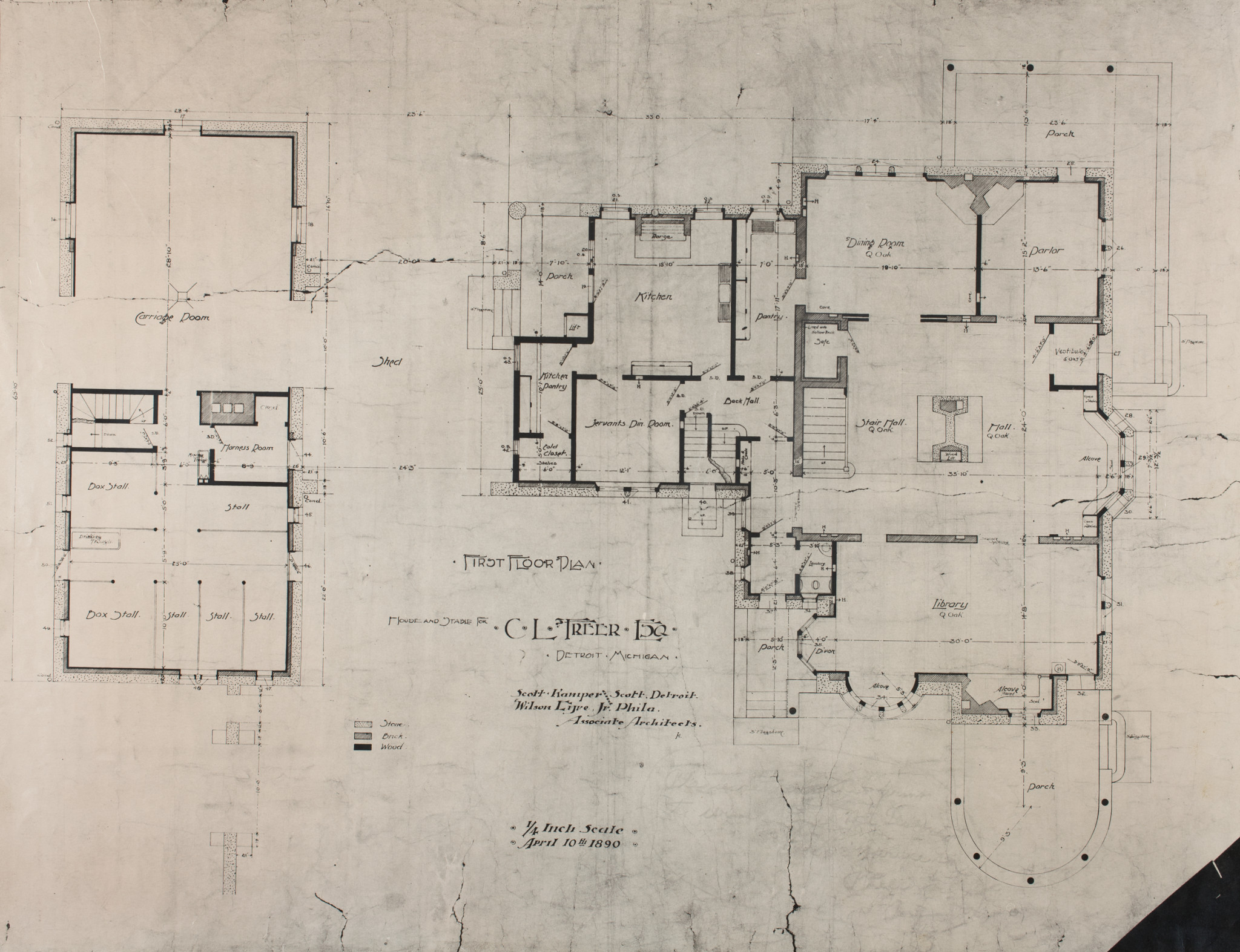 Freer House And Stable First Floor Plan Detroit Institute Of Arts Museum